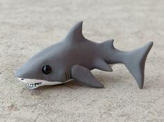 Tiny great white shark  Handmade miniature by AnimalitoClay, $28.00