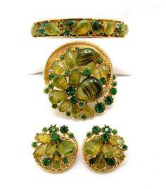 Vintage Art Glass Parure Bracelet Brooch by ALLUWANTISHERETODAY, $115.00 #vjse2 #vintage #brides #jewelry #boebot #bestofetsy
