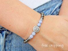 Aquamarine bracelet,Hematite bracelet,Spiral bracelet,Stretch bracelet,Gemstone bracelet,Energy bracelet,Yoga bracelet