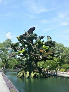 The Tree of Birds - 56 endangered bird species were featured in this living sculpture last summer at the Montreal botanical gardens
