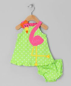 Any little sweetie will look flamingo-fantastic in this sweet set. The polka dot dress features a terrific embellished appliqué, bitty ruffles and a handy back button closure, while the diaper cover boasts frilly leg openings and a convenient elastic waistband.