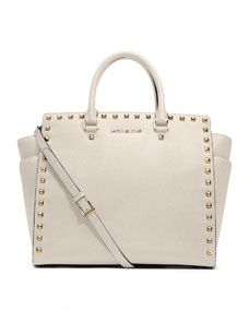 Gorgeous!  Would match your cream pumps. MICHAEL Michael Kors  Large Selma Studded Saffiano Tote
