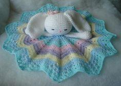 Crochet Security Blanket, Baby Afghan Crochet, Crochet Bunny, Crochet For Kids, Crochet Dolls, Crochet Amigurumi Free Patterns, Crochet Animal Patterns, Crochet Blanket Patterns, Diy Crafts Crochet