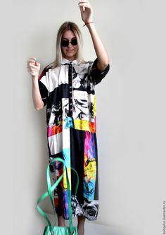 """Купить Платье рубашка из хлопка """"Монпасье"""" - комбинированный, абстрактный, одежда для женщин, одежда, платье летнее"""