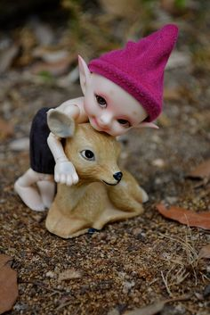 Toddler fairy with deer.