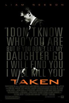 Directed by Pierre Morel. With Liam Neeson, Maggie Grace, Famke Janssen, Leland Orser. A retired CIA agent travels across Europe and relies on his old skills to save his estranged daughter, who has been kidnapped while on a trip to Paris. Taken Film Gif, Film D'action, Bon Film, Film Serie, All Movies, Great Movies, Movies To Watch, Movies Online, Excellent Movies