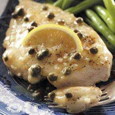 Chicken with Lemon Caper Sauce like California Pizza Kitchen's. Serve with Angel Hair pasta!