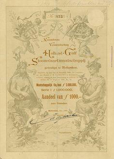 Naamlooze Vennotschap Holland-Gulf Stoomvaartmaatschappij Rotterdam, Dezember 1898, Aandeel van 1.000 Gulden, Serie 1, #875, 27,9 x 19,7 cm, grau, braun, Knickfalten, eine hinterklebt, Auflage 1.000 Stück, KR, von Fabri illustriert.