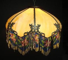 Antique Art Nouveau Art Deco Slag Glass Floor Lamp Shade Glass Beads