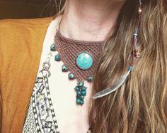 Turquoise macrame necklace handmade necklace by byLaughingBuddha