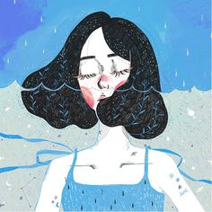 Drowning in thoughts Illustrations of 2015 of Kathrin Honesta, Kuala Lumpur artist, on Behance - Humor Art And Illustration, Character Illustration, Girl Illustrations, Psychedelic Experience, Aesthetic Art, Cartoon Art, Cartoon Girls, Art Girl, Art Inspo