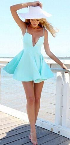 Aqua Blue Spaghetti Strap Cut Out Plunge V Neck Skater Circle A Line Flare Mini Dress
