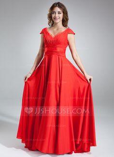 Bridesmaid Dresses - $129.99 - A-Line/Princess V-neck Sweep Train Chiffon Tulle Bridesmaid Dress With Ruffle (007016838) http://jjshouse.com/A-Line-Princess-V-Neck-Sweep-Train-Chiffon-Tulle-Bridesmaid-Dress-With-Ruffle-007016838-g16838?ver=xdegc7h0