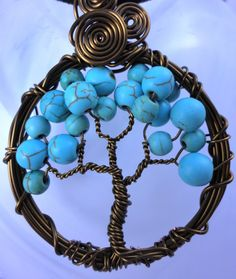 Tree of life Reiki Turquoise Necklace Pendant by LifeForceEnergy, $24.00
