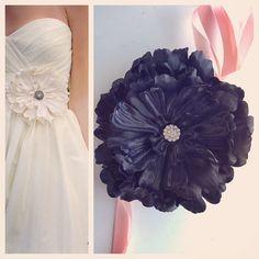 Flora in Black Wedding dress sash, waist embellishment, flower sash, dress adornment, whimsical flower, black bridal sash, ivory flower