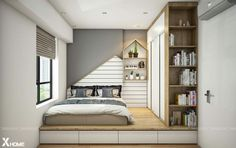 Small Bedroom Designs, Small Room Design, Small Room Bedroom, Bed Design, Home Decor Bedroom, Home Design, Modern Bedroom, Home Interior Design, Platform Bedroom