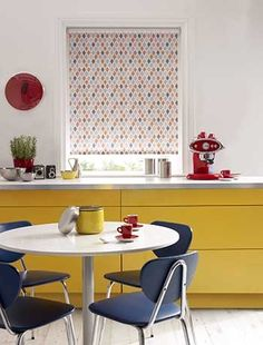 Swap a curtain for a blind - decluttering a kitchen, storage ideas, retro kitchen