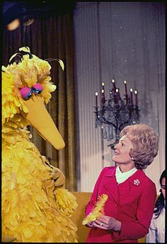 Mrs. Nixon meeting with Big Bird from Sesame Street in the White House, 12/20/1970