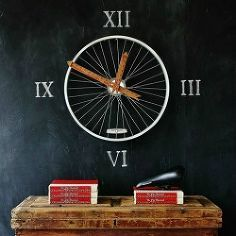 Have a blank wall and looking for a little inspiration? Here's a fun upcycled project created by Thistlewood via Hometalk. Using a bicycle wheel and a yardstick, she created a one-of-a-kind clock! This project would be perfect for a playroom or gameroom!