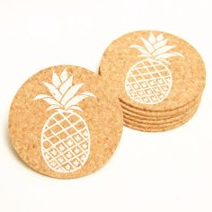 Pineapple - screen printed coaster These are fun as a hostess gift or decor for any tropical themed party, tiki, or luau! We also feature this coaster on a matching card (See 2nd pic) Our eco-friendly