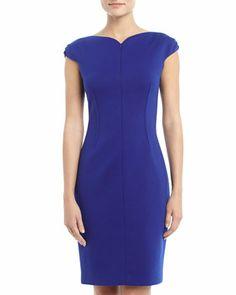 Cap-Sleeve Front-Zip Dress, Brilliant Blue by Tahari at Neiman Marcus Last Call.