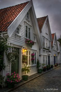 Houses in old Stavanger, Norway.