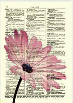 Pink Flower Dictionary Art Print Flower Art Dictionary Print Dictionary Page Wall Decor Mixed Media Collage 019 Book Page Art, Book Art, Daisy Art, Newspaper Art, Newspaper Painting, Dictionary Art, Bible Art, Book Crafts, Medium Art