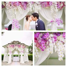 Pink and purple flowers to decorate the wedding arbor.
