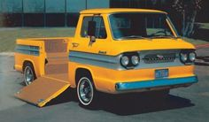 Chevrolet's 1962 Corvair Rampside pickup was particularly well suited to hauling small, wheeled implements that could be rolled up into the bed.