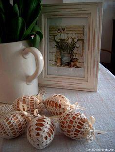 пасхальные яйца. обвязка крючком (33) (527x700, 264Kb) Happy Easter, Easter Bunny, Crochet Art, Rubrics, Decoration, Eggs, Place Card Holders, Seasons, Crafty