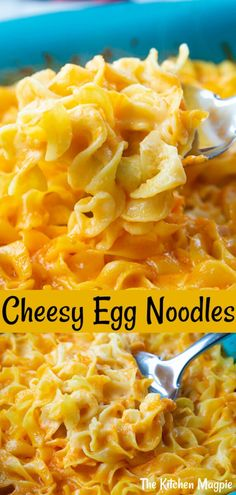 It doesn't get simpler or more delicious than these cheesy egg noodles! Bake egg noodles in a creamy cheese sauce for an easy dinner! Egg Noodle Dishes, Egg Noodle Casserole, Egg Noodle Recipes, Casserole Recipes, Food Dishes, Egg Noodle Recipe For Kids, Recipes With Pasta Noodles, Egg Noodle Side Dish, Chicken And Egg Noodles