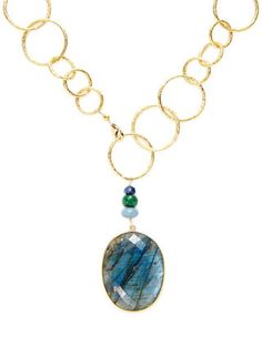 Labradorite, Ermarld, Sapphire, & Blue Opal Necklace by Alanna Bess Jewelry at Gilt