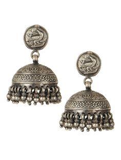 Lotus Silver Jhumkas  #handmade #jewelry #accessories #bird