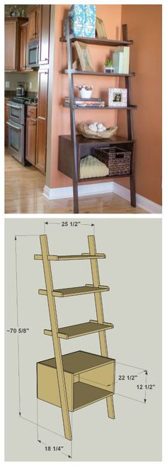 DIY Ladder Shelves :: Get the FREE PLANS for this project and many others at buildsomething.com