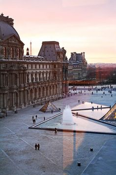 Paris Sunset from the Louvre window. Entrance to Le Louvre Musee - Paris, France Places Around The World, Oh The Places You'll Go, Places To Travel, Places To Visit, Around The Worlds, Travel Destinations, Travel Things, Travel Stuff, 5 Things