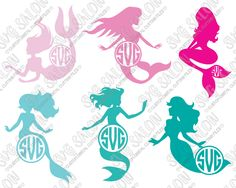 Mermaid Circle Monogram Frame Custom DIY Cutting File Set in SVG, EPS, DXF, JPEG, and PNG Format