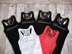 BRIDAL PARTY TANKS... Bride in white, Maid of Honor in coral, and Bridesmaids in black. Fun tanks to wear during a Bachelorette Party.
