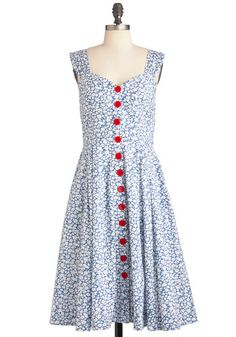 Brunch with Buds Dress in Wildflowers by Emily and Fin - Long, Red, Blue, White, Floral, Buttons, Party, Sleeveless, Vintage Inspired, Fit & Flare