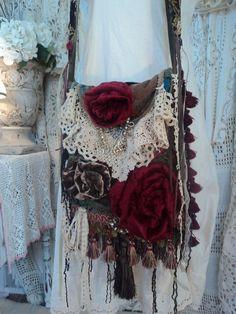 Handmade Vintage Velvet Quilt Cross Body Bag Fringe Boho Hobo Art Purse tmyers  #Handmade #MessengerCrossBody