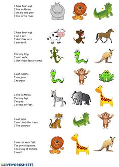 Animals interactive and downloadable worksheet. You can do the exercises online or download the worksheet as pdf. English Activities For Kids, English Stories For Kids, English Worksheets For Kindergarten, Learning English For Kids, Teaching English Grammar, English Lessons For Kids, Kids English, Preschool Learning Activities, Learn English Words