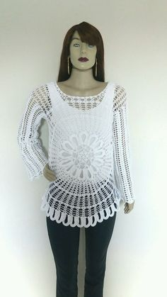 Crochet Blouse, Lace, Long Sleeve, Sleeves, Fashion, Handmade Crafts, Taylormade, Crochet Flowers, Wire
