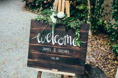Welcome wedding board #greenery #whimsicalwedding