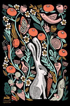 hare, rabbit, linocut, linocut art, printmaking, printmaker, illustration