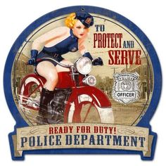Vintage and Retro Wall Decor - JackandFriends.com - Retro Police Bike Round…