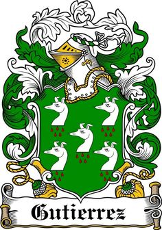 GUTIERREZ FAMILY CREST - COAT OF ARMS gifts at www.4crests.com