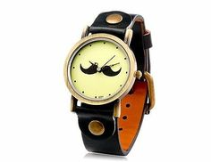 New Fashionable Women's Beard Pattern Round Dial Analog Watch Faux Leather Black
