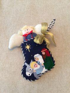 Nativity mini stocking with angel insert ~ Canvas design by Kathy Schenkel
