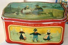 RARA GRANDE SCATOLA LATTA ALBA D'ORO 1938 PUBBLICATA ITALIAN TIN BOITE BLECHDOSE