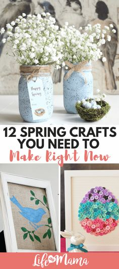 12 Spring Crafts You Need To Make Right Now. 12 Spring Crafts You Need To Make Right Now Adorable spring crafts to get you in the mood for bright and sunny weather, not to mention Easter. Crafts For Teens, Crafts To Sell, Diy And Crafts, Crafts For Kids, Craft Ideas For The Home, Mason Jar Crafts, Mason Jar Diy, Diy Décoration, Easy Diy