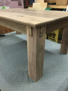 Walnut table with locking joinery
